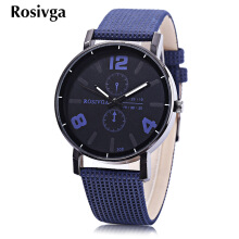 Rosivga 308 Unisex Quartz Watch Luminous Pointer Leather Band Wristwatch