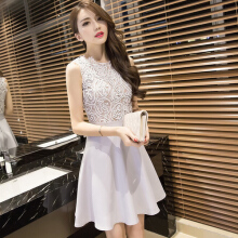 Korean women dress lace sexy solid mini dress elegant sleeveless women dress
