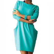 Anamode Women Dresses O Neck Clothing Pocket Long Sleeve Office Clothes -