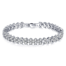 SESIBI Elegant Silver Rhinestone Crystal Bracelet Bangle Jewelry For Women Girl Gift One Size - Silver + Clear Crystal