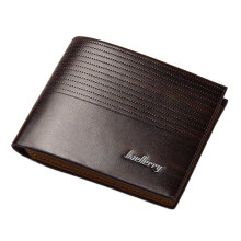 Baellerry Fashion Casual Stripe Pattern Open Horizontal PU Leather Wallet for Men Dark Brown