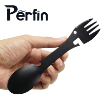 Perfin Stainless steel multi-function fork spoon can opener can opener outdoor portable stainless steel tableware Black