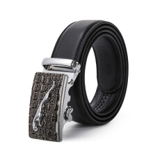 Keness Men's alloy buckle automatic buckle belt simulation leather business casual belt