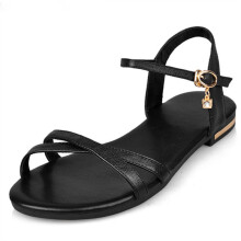 Jantens 2018 new arrive women sandals simple buckle summer shoes genuine leather ladies comfortable flat sandals