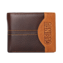 Zanzea Vintage Genuine Leather Patchwork Trifold Wallet For Men #0