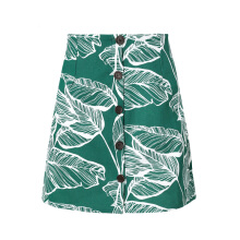 Simplee Leaf Print Ladies Skirt Summer Buttons High Waist Mini Skirt Chic Bohemian Casual Skirt