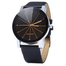Aosen Men Quartz Watch Line Dial Leather Band BLACK