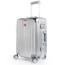 CROSSGEAR 24 inch Travel Luggage Rolling Suitcase TSA Lock ABS Material High End Aluminium Frame (Must Checked Baggage) CR-1303 Silver
