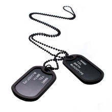 Farfi Military Army Style Black 2 Dog Tags Pendant Sweater Chain Necklace Men's Jewelry as the pictures