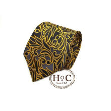 Houseofcuff Dasi Neck Tie Motif Wedding Best Man GOLD BLACK LIST BATIK TIE Gold