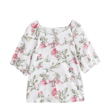 INMAN 1882013454 Blouse V Neck Floral Women Half Sleeve Artistic Casual Tops Blouse