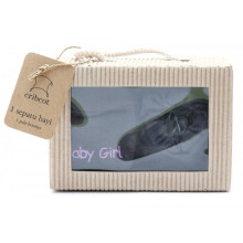 Cribcot Gift Set Booties Plain Dark Grey & Mitten Baby Girl Dark Grey Purple