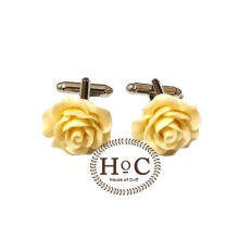 Houseofcuff  Cufflinks Manset Kancing Kemeja French Cuff  FLOWER WAX BEIGE CUFFLINKS Beige