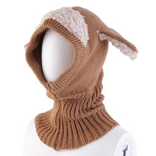[OUTAD] Winter Baby Girl Boy Warm Dog Knitted Crochet Hooded Hat Cap Beanie Scarf Coffee