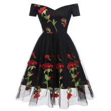 Xi Diao Women Embroidery Boat Neck Party Prom Dress