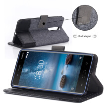 DELIVE Nokia 6 Canvas Case Leather Cover Magnetic Stand Holder Fundas Phone Cases