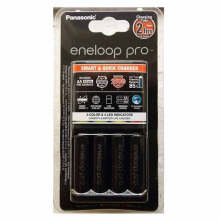 Panasonic Eneloop Pro Charger + Baterai 4 Rechargeable Battery AA Black