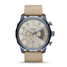 Diesel Stronghold - Taupe Round Dial 51mm - Leather Strap - Light Brown - Chronograph - Jam Tangan Pria - DZ4354