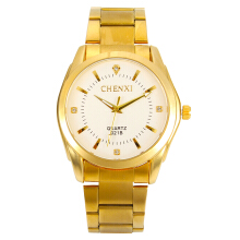 Zanzea CHENXI Luxury Brand Gold Stainless Steel Men's Quartz Wristwatch Fashion Business Sport Watch Gold