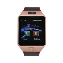 [kingstore] Smart Watch With Camera Bluetooth SIM Card Wrist For IOS & Android Brown Band Gold Dial