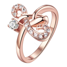 SESIBI Elegant Geometirc Ring Mosaic Crystal For Women Fashion Jewelry Antique Rose Golden Statement Maxi Ornaments -