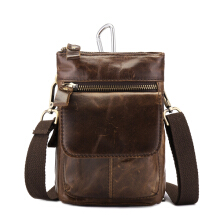 Zanzea Genuine Leather Waist Bag First Layer Leather Leisure Retro Phone Bag Crossbody Bag For Men