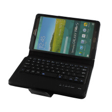 Samsung Galaxy Tab S 8.4 T700 T705 Bluetooth Keyboard Removable Wireless Optical Ultra Thin Leather Protective Case Black