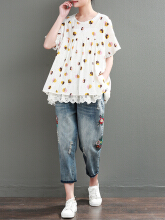 Lace Patchwork Polka Dot Short Sleeve Vintage T-shirts Blue One Size