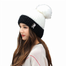 SiYing fashion big hair ball two-color knit plus velvet thickening ladies wool hat