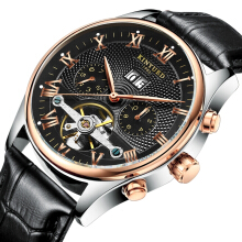 KINYUED JYD-J012 Calendar Automatic Mechanical Watch Roman Numeral Leather Strap Men Watch Black