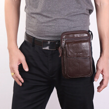 Zanzea 0051Men Genuine Leather Personalized Crossbody Bag Waist Bag Phone Bag Brown
