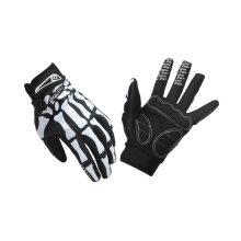 [kingstore]Professional Riding Gloves Skeleton Bone Slip-resistant Full Finger Gloves Black Black And White L