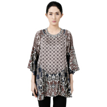 STUDIO 133 - BIYAN Satin Peplum Blouse Flower Damask Brown