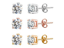 Silver Stud Earrings for Women - Set of 3 Rose Gold Earrings with 4 Claw Diamond Crystal from Swarovski Mothers' Gift(White Blue Red)