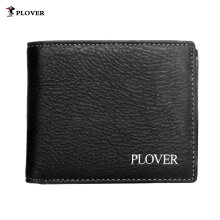[LESHP]PLOVER GD5885-6AX Solid Color Business Soft Cow Leather Man Short Wallet Purse Black