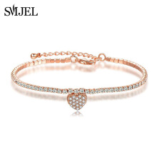 SMJEL Trendy New Cubic Zirconia Bracelet & Bangles For Women Fashion Rose Gold