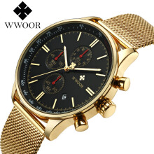WWOOR Men's Casual Watch Chronograph Date Military Army Sport Stainless Steel Mesh Quartz Mens Watches Male Clock