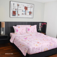 KING RABBIT Bedcover Single Motif Papilion Angelia - Pink/ 140 x 230cm Pink