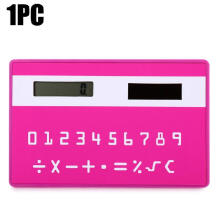 Shengmeiid 1PC Mini Slim Credit Card Pattern Solar Power Pocket Calculator ROSE