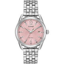 CITIZEN Eco-Drive Watch FE6080-71X Pink Dial with Silver Steel Strap