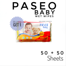 Paseo Baby Wet Wipes 50 Sheets + 50 Buy One Get One