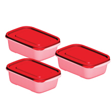 TECHNOPLAST Azumi Bento Sealware Medium 600ml Set of 3 - Merah