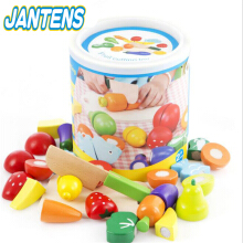 Jantens Kids Wooden Kitchen Toys Cutting Fruits Vegetables Children Wooden Toys Play Photo Color