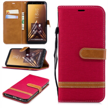 MOONMINI Samsung Galaxy A6 Plus 2018 Jeans Surface PU Leather Wallet Case Magnetic Flip Stand Cover with Card Slots