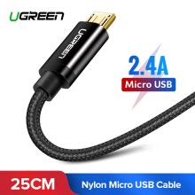 UGREEN 25cm Micro USB Cable Fast Charge USB Data Cable USB Charging Cord Microusb Charger Cable for Power Bank 0.25m