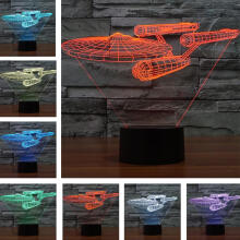 Farfi Spaceship USB LED Night Light Color-Changing 3D Table Lamp Home Decoration Black