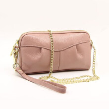Jantens Day hand bag wallet female leather ladies handbag short small wallet soft solid color zipper bag with chain Pink