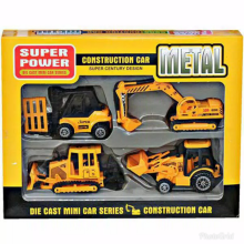 Kaptenstore Mainan Mobil Konstruksi Construction Car Metal isi 4 Pcs Yellow
