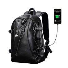 YOOHUI Men Backpack External USB Charge Waterproof Backpack Fashion PU Leather Travel Bag Black