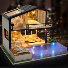 Jantens New Miniature Dollhouse DIY Dollhouse with Furniture Dust Cover Fidget Wooden Toys for Photo Color